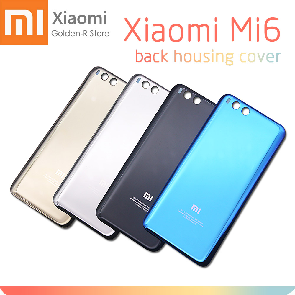 New Black White Blue Rear Housing For XIAOMI Mi6 Back Cover Mi 6 Glass Replace Mi6 Battery Door Case Replacement