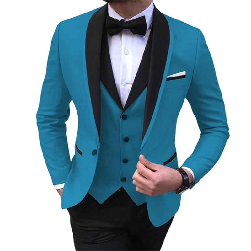 Men's Suit 3 Pieces Casual Shawl Lapel Brown White Costume Homme for Wedding Tuxedos Groomsmen (Blazer+Vest+Pant) - 5