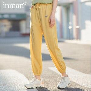 Image 2 - INMAN 2020 여름 새로운 도착 패션 레저 드레이프 벨트 발목 길이 엉덩이 팬츠와 슬림