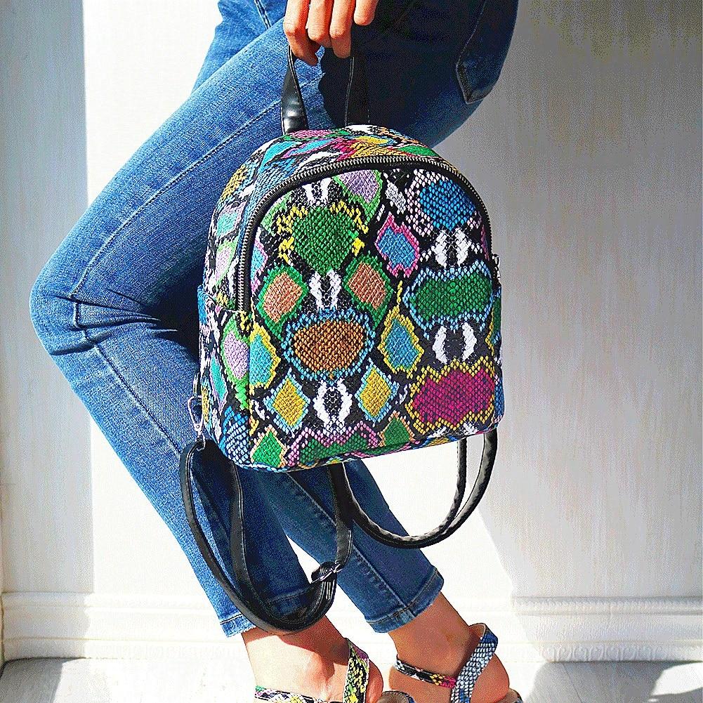 SARAIRIS New INS Hot Multi Snake Printed Female Backpack Women 2020 Cool Mini Top Handle Bag Unique Handbags Ladies