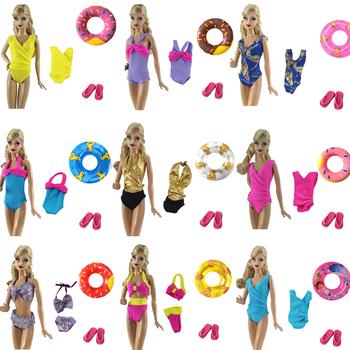 NK MIX Doll stroje kąpielowe stroje kąpielowe plażowe stroje kąpielowe + kapcie + pływanie boja koło ratunkowe pierścień dla lalki Barbie dziewczyny #8222 zabawki 060JJ DZ tanie i dobre opinie NK Fantastic Fairyland 25-36m 4-6y 7-12y 12 + y Tkanina CN (pochodzenie) Doll Swimwear Moda Akcesoria Suit Fit For Barbie Doll