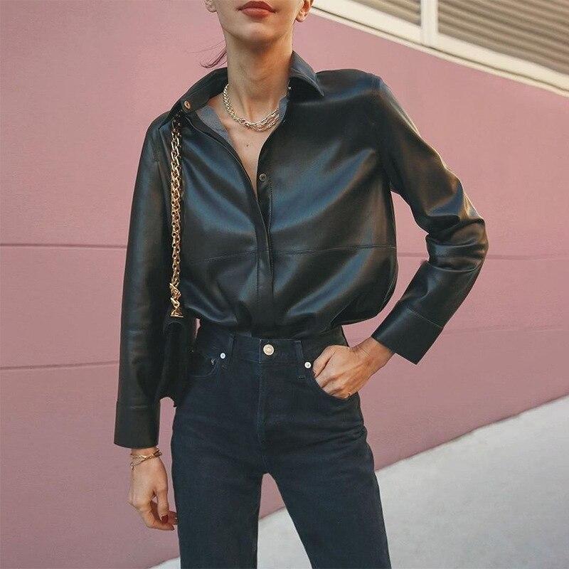 Горячая Распродажа, весна 2020, новые женские топы и блузки, с отворотом, полный рукав, ins, в том же стиле, модная, тонкая, универсальная, однотонная, искусственная кожа, рубашка|Блузки и рубашки| | - AliExpress