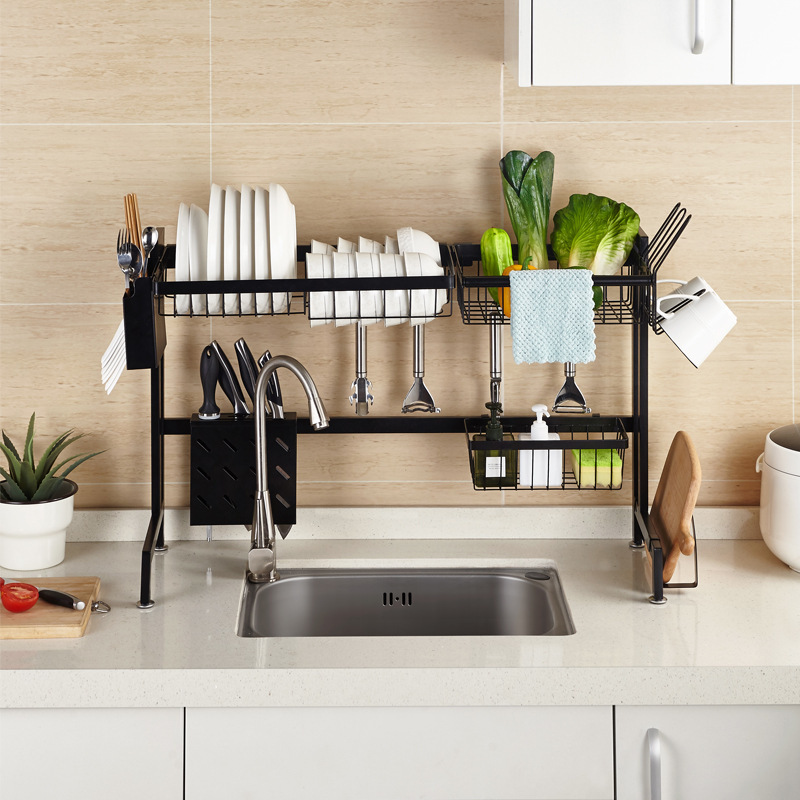 Kitchen Sink Rack Stainless Steel Sponge Dish Plate Drain Rack Utensils Drying Shelf Kitchen Storage Countertop Organizer Holder
