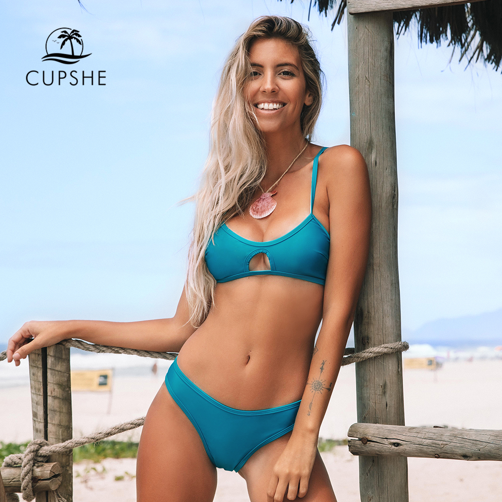 CUPSHE Solid Aqua Blue Cut Out Low-waist Bikini Sets Sexy Padded Cups Swimsuit Two Pieces Swimwear Women 2020 Beach Bathing Suit