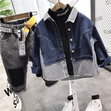 Blouse Baby-Boy Shirt Tops Stitching Spring Plaid Long-Sleeved Children New Autumn And