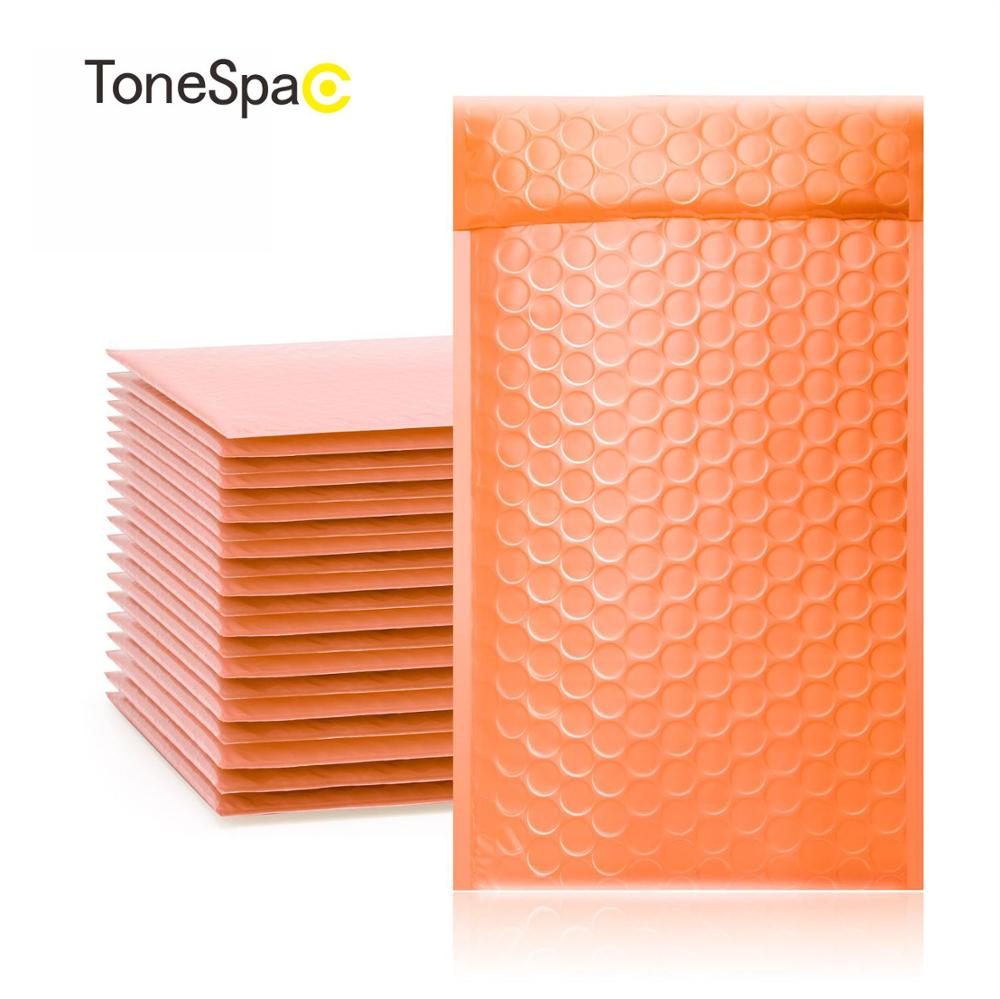 TONESPAC 130*210mm 10pcs Poly Bubble Mailer Padded Shipping Envelopes Bag Self Seal Small Waterproof Packaging Orange