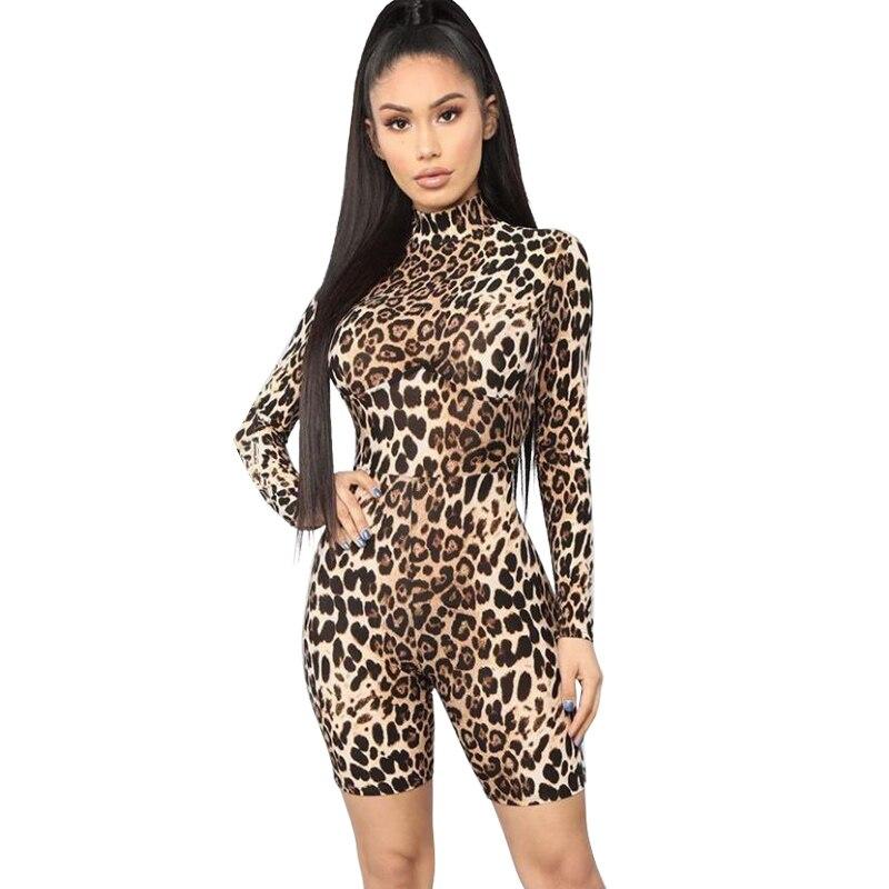 Kliou women Leopard playsuit long sleeve slim skinny   rompers   short jumpsuit autumn new body Leopard fashion party club bodysuit
