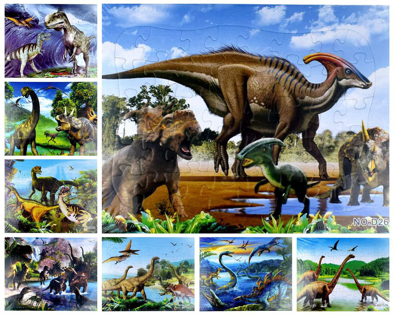 1pcs 21*28CM 40 Pieces Paper Cute Cartoon Dinosaurs Jigsaw Puzzle Toy For Kids Gift