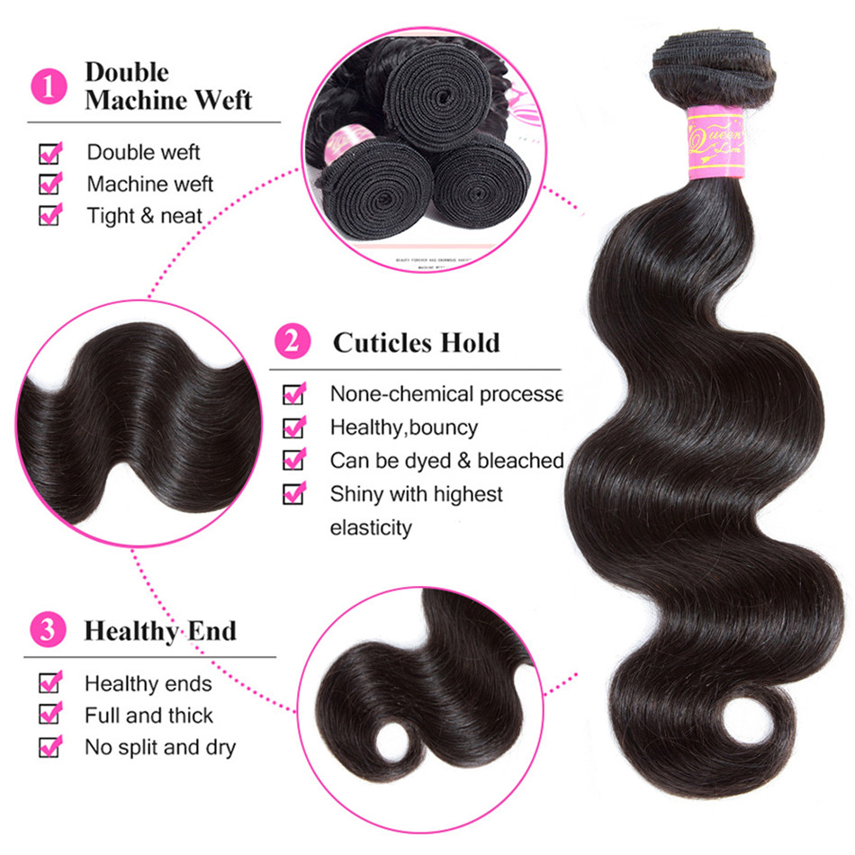 Queen Love Hair Body Wave 4 Bundles With Closure Natural Color Malaysia 100% Human Hair Bundles With Closure Non-Remy Body Weave
