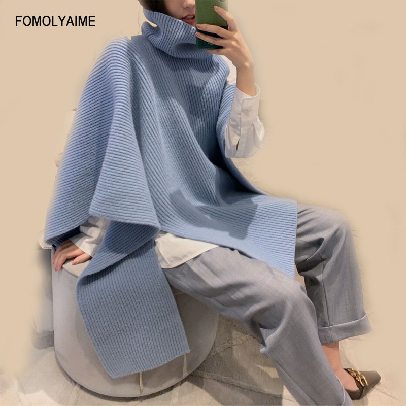 Fashion Pullover Sweaters New Style Women's Clothes Irregular Designer Turtleneck Versatile Light Blue Thermal Sweater