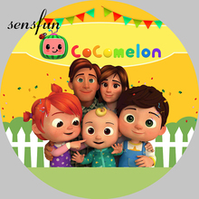 Round Circle Cocomelon Photography Backgrounds Bunting Balloons Fence Green Grass Kids 1st Birthday Party Backdrops Customized