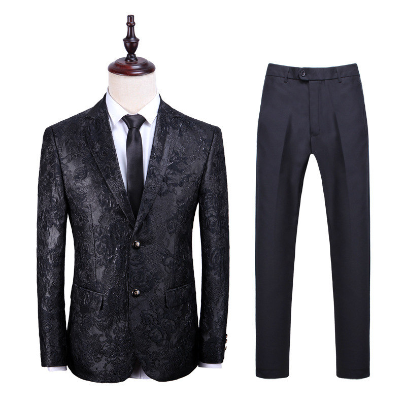 2019 New Arrival Mens Suit with Pants Golden and Black Color Fashion Wedding Suits for Men Slim Fit Autumn Winter Plus Size