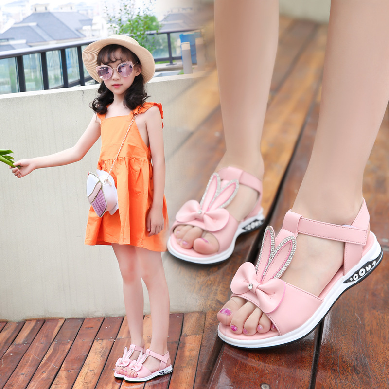 2019 Children Girl Summer Sandals Fashion Pink Bunny Ears Crystal Kid Baby Princess Shoes Soft Bottom Non-slip Beach Sandals
