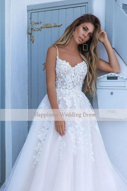 Elegant A-line White 3D flower Wedding Dresses with Appliques Spaghetti Strap Bridal Gowns Boho vestido de casamento 3