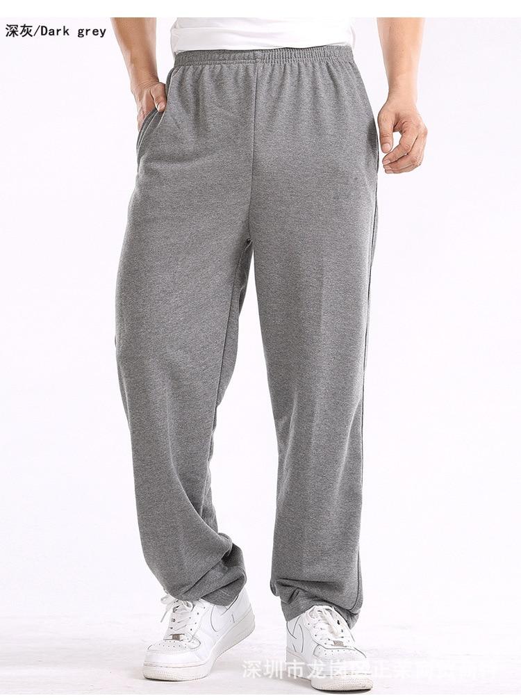 MEN'S Sports Pants Straight-Cut Spring Summer Casual Plus-sized Thin Long Velvet Pants Loose Fat Sweatpants
