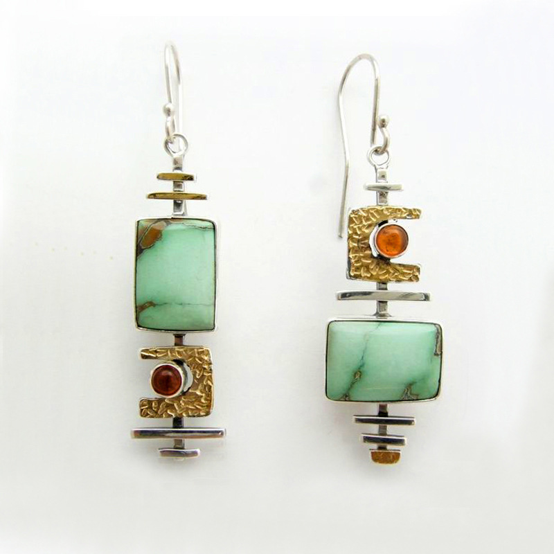 Boho Ethnic Green Resin Stone Drop Dangle Earrings For Women Indian Tribal Vintage Earrings pendientes mujer moda 2019 Z4E680