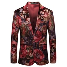 2019 Mens Casual Business Wedding Long Sleeve Print Floral Suit Coat Jacket veston homme costume dropshiping W902