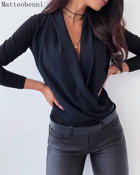 NEW Casual Solid color Oversized T Shirt Women Sexy V-neck Long sleeve black tops women 2020 Autumn T-Shirt Lady Loose Tee Shirt sexy style jewel neck solid color voile splicing half sleeve t shirt for women