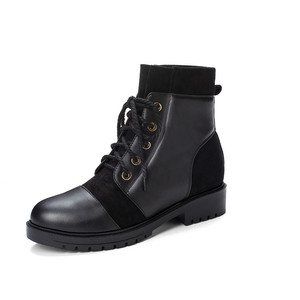 Image 4 - YMECHIC 2019 Fashion Cross Tie Chunky Low Heel Woman Boots Black Yellow Ladies Slip on Shoes Punk Goth Ankle Combat Boots Winter