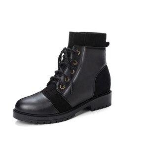 Image 4 - Ymechic 2019 moda cruz gravata chunky salto baixo mulher botas preto amarelo senhoras deslizamento em sapatos punk gótico tornozelo botas de combate inverno
