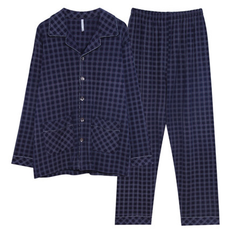 Men's Pajamas Spring And Autumn Long Sleeve Cotton Autumn Large Autumn Cotton Autumn And Winter Plaid Home Furnishing Set