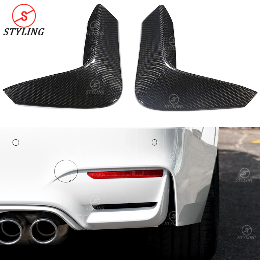 M3 M4 Dry Carbon Rear Splitter Trim For BMW F80 F82 F83 Rear Bumper Lip body Kit Exterior Parts 2014 2015 2016 2017 2018 2019 image