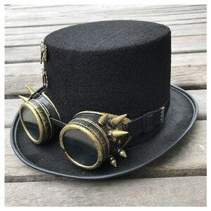 Image 2 - 2019 moda masculina feminina artesanal steampunk chapéu com óculos de engrenagem chapéu mágico desempenho bowler chapéu tamanho 57 cm steampunk chapéu