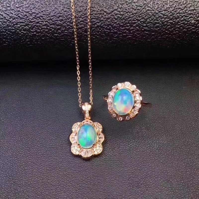 BOEYCJR 925 Серебряное опалительное ожерелье цепочка Ювелирные изделия энергетический драгоценный камень кулон ожерелье кольцо набор украшений для женщин подарок