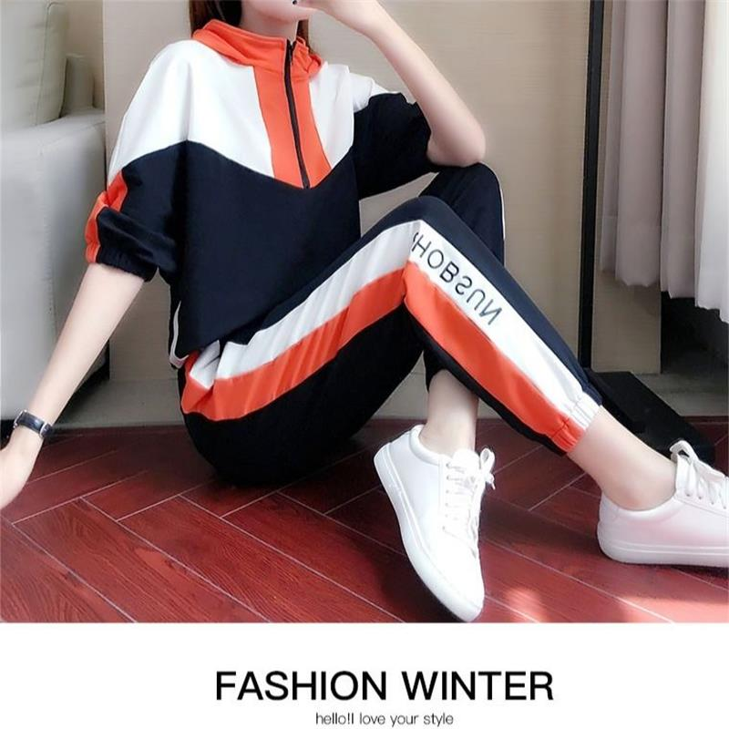 size loose casual suit female 2020 new autumn sports fashion trend hooded midsleeved sweater twopiece suit Women Sports Suit 28