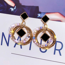 statement earrings for women 2019 black square luxurious crystal golden gift wedding