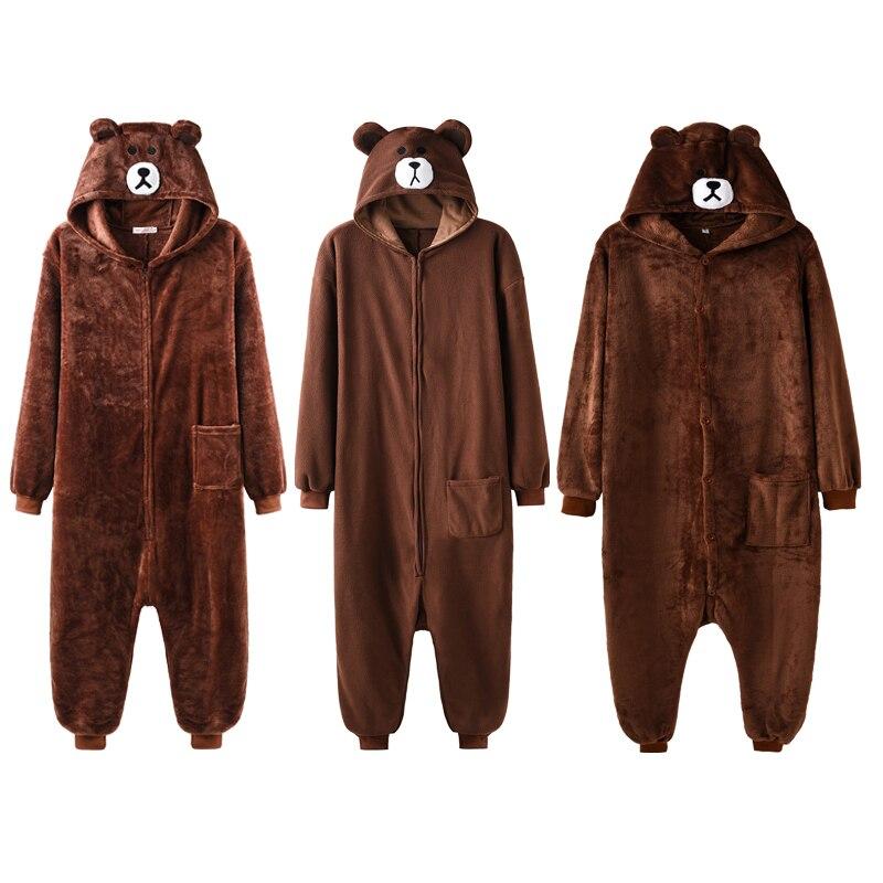 Kigurumis Brown Bear Onesie Slippers Women Men Pajama Adult Animal Cartoon Homewear Cosplay Party Festival  Jumpsuit Sleepwear