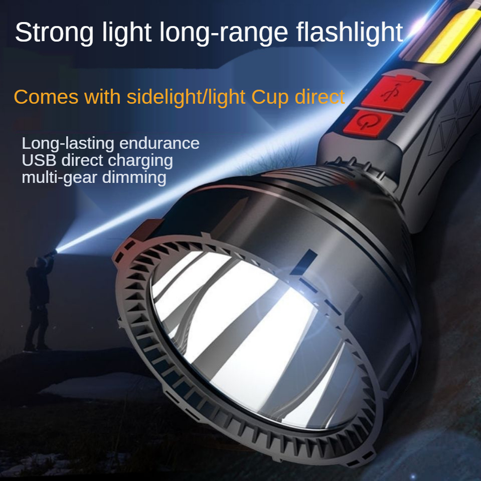 Super Bright Power Torch Rechargeable Long-Range Led Household Durable Outdoors Convenient Searchlight Emergency Light torch COB