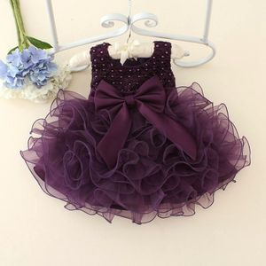 Hot Lace flower girls wedding dress baby girls christening cake dresses for party occasion kids 1 year baby girl birthday dress(China)