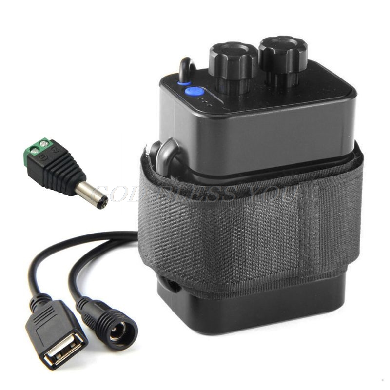 Waterproof DIY 6x <font><b>18650</b></font> <font><b>Battery</b></font> <font><b>Case</b></font> Box Cover with <font><b>12V</b></font> DC and USB Power Supply for Bike LED Light Cell Phone Router image