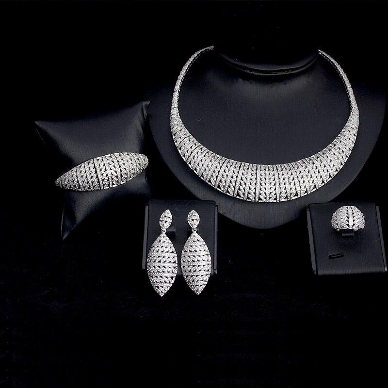 BRIDETALK 4 pièces grands ensembles de luxe AAA cubique zircone bijoux pour femmes mariage et fiançailles fête moyen-orient livraison gratuite