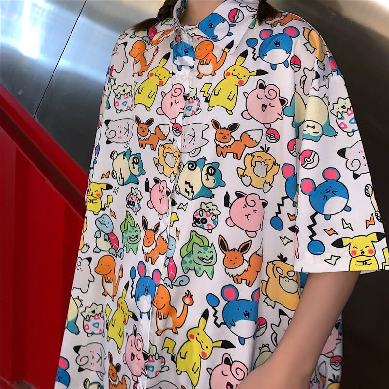 Harajuku Women Graffiti Blouse Japanese Anime Pokemon Printed Short Sleeve Shirt Autumn Tops Blouses Unisex Streetwear Blusas