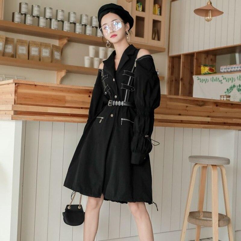 [LANMREM] 2020 Autumn And Winter New Products Fashion Irregular Long Zipper Pocket Lantern Sleeve Black Windbreaker Female PA491