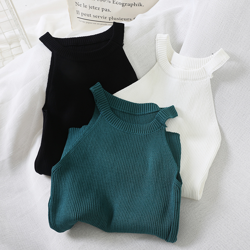 Summer Knitting Halter Off shoulder Tank Tops Female Bodycon Knitted Camisole Sleeveless Short Tee Shirts For Women|Camis|   - AliExpress
