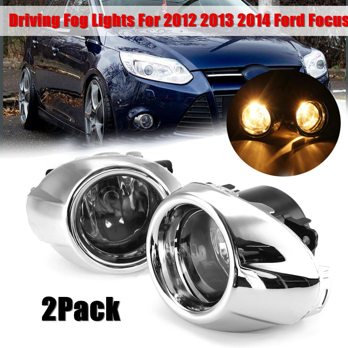 1 Pair Replacement Clear Lens Fog Lights Lamps Bulbs For 2012 2013 2014 Ford-Focus S/SE/SEL/Titanium