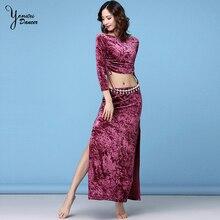 Spring Autumn New Belly Dance Velvet Performance Costume Long Sleeve Off Shoulder Tops Adult Bellydance Skirt Split