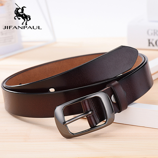 JIFANPAUL Genuine leather ladies fashion retro punk belt alloy pin buckle high quality ladies business casual  trend jeans belt 2