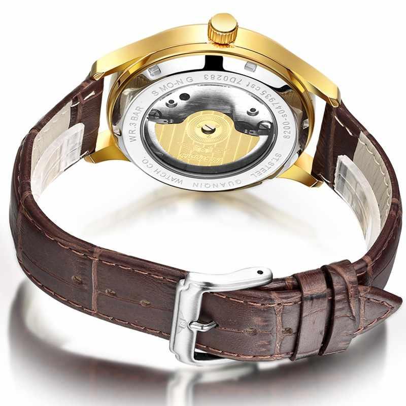 GUANQIN الفاخرة التلقائي الرجال الساعات الأصلية الميكانيكية على مدار الساعة العلامة التجارية الأسود الرجال مقاوم للماء Relogio masculino