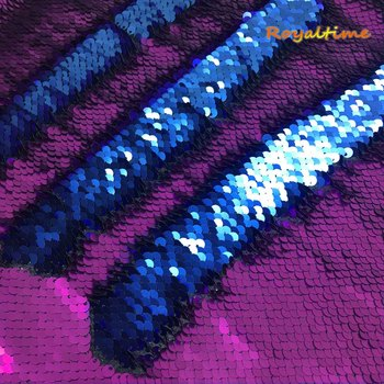 Double Face Sequins Fabric For Handbags Garments DIY Tissue Sewing Fabric Material Craft Making Accessories-Matte Purple/Blue image