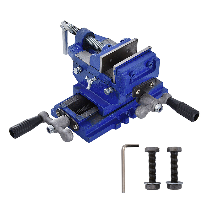 Two-Way Movement Bench Drill Operating Platform Flat Tongs Precision Bench Vise Clamp Tool Heavy Duty Cast Iron Plain Vice