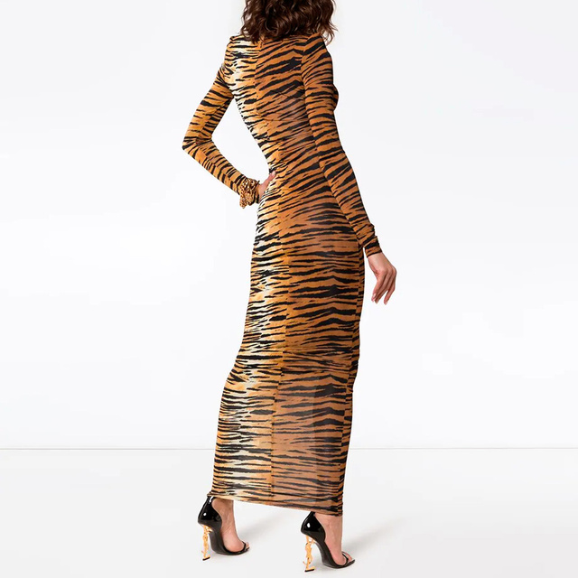 Kylie jenner Inspired Long Tiger Print Jersey Dress Brown and Black Printing Maxi Dress 2