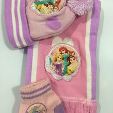 1 комплект, милая вязаная шапочка принцессы с рисунком, детский Рождественский зимний вязаный шарф, перчатки, шапка, вечерние подарки для детей, От 2 до 8 лет
