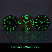 Modern Wall Clock Luminous Number Hanging Clocks Silent Dark Glowing Wooden Wall Clocks Watches Wall Decoration For Living Room(China)