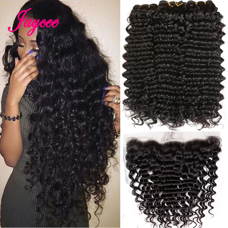 Peruvian Deep Wave Bundles With Lace Frontal Closure With Bundles Peruvian Hair Weave Bundles Human Hair 3 Bundles With Frontal