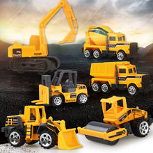1:64 Medium Size Imitation Inertia Multi-type Engineering Vehicles Kids Excavator Model Car Toys for boy(China)