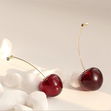 2020 New Korean Vintage Earrings For Women Big Red Cherry Long Hanging Dangle Cute Girl Fashion Jewelry